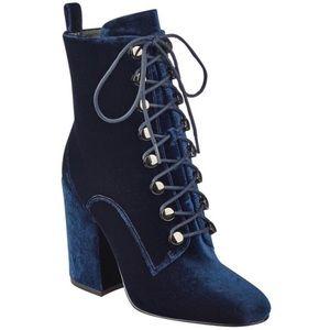 Kendall and Kylie blue velvet booties